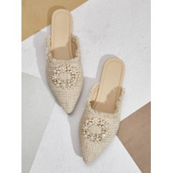 Raw Trim Faux Pearl Decor Flat Mules found on Bargain Bro India from Sheinside for $19.00