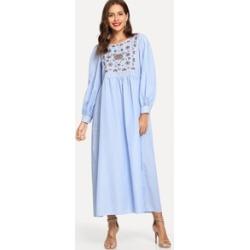 Embroidered Yoke High Waist Hijab Dress