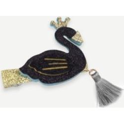 Girls Swan & Tassel Decorated Glitter Hair Clip 1pc
