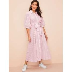Lantern Sleeve Self Belted Shirt Hijab Dress