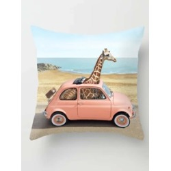 Giraffe In The Car Print Cushion Cover