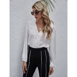 Lace Panel Scallop V Neck Blouse found on Bargain Bro India from SHEIN for $14.45