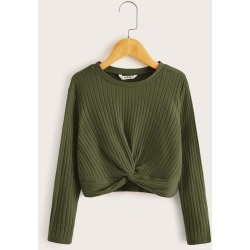 Girls Twist Hem Rib-knit Top found on Bargain Bro India from SHEIN for $8.82
