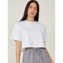 Drop Shoulder Solid Crop Tee found on Bargain Bro from SHEIN for USD $5.89