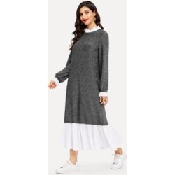 Ruffle Trim Glitter Hijab Dress