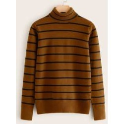 Funnel Neck Striped Sweater