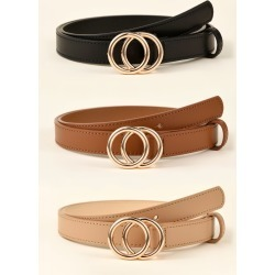 3pcs Double O-ring Buckle Belt found on Bargain Bro from SHEIN for USD $6.41