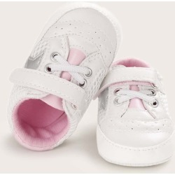 Baby Girl Lace-up Front Velcro Strap Sneakers found on Bargain Bro India from SHEIN for $8.82