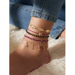 5pcs Shell Decor Braided Anklet found on Bargain Bro India from Sheinside for $3.00