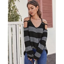 Strappy Cold Shoulder Striped Sweater