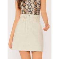 Ruffle Waist Raw Hem Denim Skirt found on Bargain Bro Philippines from Sheinside for $24.99