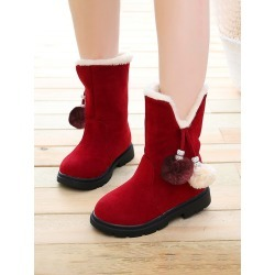 Girls Pom-pom Decor Boots found on Bargain Bro from SHEIN for USD $17.56