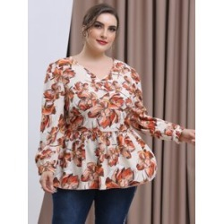Plus All Over Floral Print Puff Sleeve Peplum Blouse found on Bargain Bro from Sheinside for USD $12.16