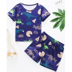 Toddler Boys Dinosaur And Pizza Print PJ Set found on Bargain Bro Philippines from SHEIN for $7.32