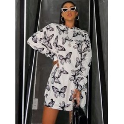 Butterfly Print Hooded Sweatshirt Dress found on MODAPINS from Sheinside for USD $14.00