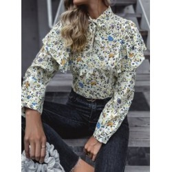 All Over Floral Print Tie Neck Shirred Back Blouse found on Bargain Bro from Sheinside for USD $12.92