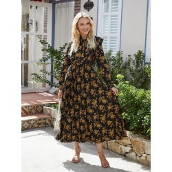 Floral Print Tie Neck Pleated Dress