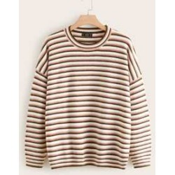 Plus Drop Shoulder Striped Sweater found on Bargain Bro India from Sheinside for $24.00