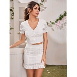 Eyelet Embroidered Button Top & Zip Back Skirt Set