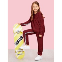 Girls Letter Tape Hoodie and Sweatpants Set found on Bargain Bro Philippines from Sheinside for $25.00