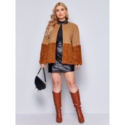 Plus Open Front Contrast Shearling Overcoat