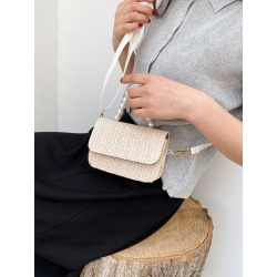 Mini Faux Pearl Decor Straw Bag found on Bargain Bro from SHEIN for USD $5.89