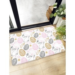 Cartoon Rabbit & Egg Print Floor Mat found on Bargain Bro India from SHEIN for $8.82