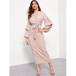 Surplice Neck Balloon Sleeve Split Back Hijab Dress