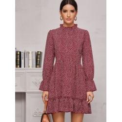 Ditsy Floral Frill Neck Dress