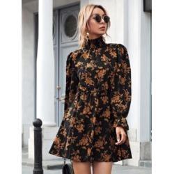 Shirred High Neck Flounce Sleeve Floral Dress