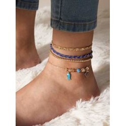4pcs Fish Decor Braided Anklet found on Bargain Bro India from Sheinside for $2.00