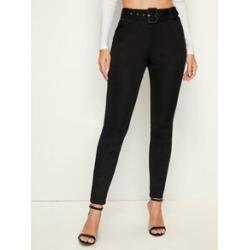 Adjustable Belted Skinny Pants