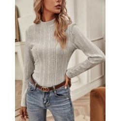 Mock Neck Rib Knit Tee found on Bargain Bro from Sheinside for USD $11.40