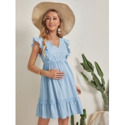 Maternity Ruffle Trim Swiss Dot Dress found on Bargain Bro Philippines from Sheinside for $20.00