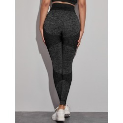 Space Dye Wide Band Waist Sports Leggings found on Bargain Bro Philippines from SHEIN for $20.72