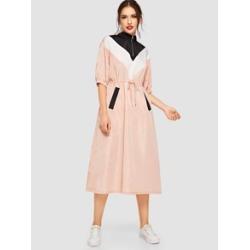 Zip Front Drawstring Waist Chevron Hijab Dress