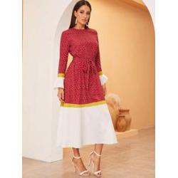 Heart Print Flounce Sleeve Belted Hijab Dress