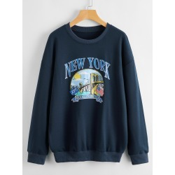 Plus American Flag And Letter Graphic Sweatshirt