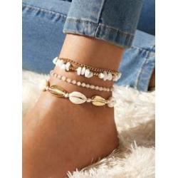 4pcs Shell & Bead Decor Anklet Set found on Bargain Bro India from Sheinside for $2.00