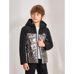 Boys Patched Detail Colorblock Metallic Puffer Jacket