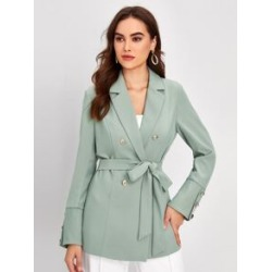 Double Button Belted Solid Blazer found on Bargain Bro from Sheinside for USD $25.84