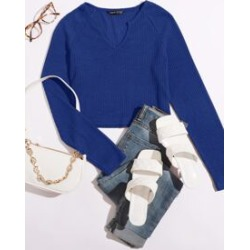 Notched Neck Rib Knit Tee found on Bargain Bro from Sheinside for USD $5.32