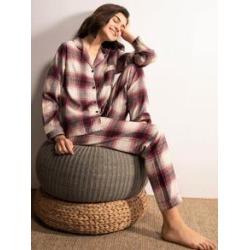 Plaid Button-up Pajama Set