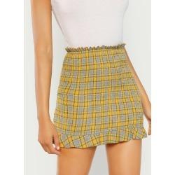 Ruffle Hem Plaid Skirt found on Bargain Bro from SHEIN for USD $12.28