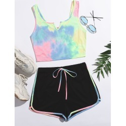 Notch Neck Tie Dye Tank Top & Dolphin Shorts Set found on Bargain Bro from SHEIN for USD $6.41