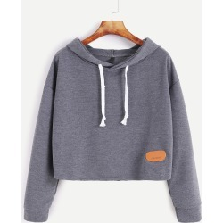 Hooded Drop Shoulder Patch Sweatshirt found on Bargain Bro from SHEIN for USD $9.39