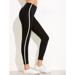 Black Striped Side Leggings found on Bargain Bro India from SHEIN for $8.82