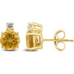 14K Yellow Gold 6MM Round Citrine and Diamond Earrings found on Bargain Bro Philippines from szul.com for $239.00
