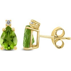 14K Yellow Gold 8x6MM Pear Peridot and Diamond Earrings found on Bargain Bro Philippines from szul.com for $209.00