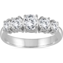 1 1/4 Carat TW 5 Stone White Diamond Ring in 14K White Gold (K-L Color, I2-I3 Clarity) found on Bargain Bro from szul.com for USD $820.04
